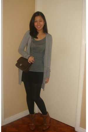 Topshop - H&M shirt - Chanel purse - H&M skirt - Topshop tights - Nine West boot