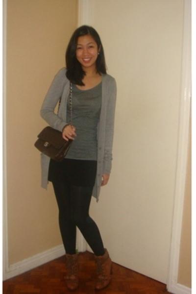 Topshop - H&M shirt - Chanel purse - H&M skirt - Topshop tights - Nine West boot
