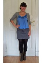 blue New Yorker shirt - dark brown no name boots - black DM tights