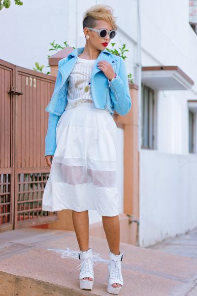 StyleMoi jacket - Chicwish sunglasses - StyleMoi skirt - Chicwish sandals