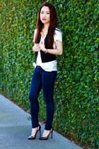 Abercrombie jeans - Zara shirt - Club Monaco vest - Christian Louboutin heels