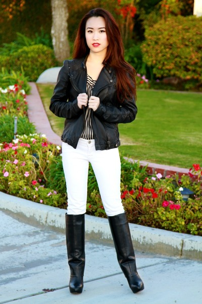 leather Zara jacket - Zara boots - white Abercrombie jeans