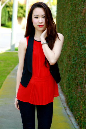 red pleated Zara top - navy Abercrombie jeans - black tuxedo Club Monaco vest