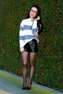 Striped-no-rest-for-bridget-sweater-leather-forever-21-shorts