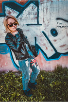 leather jacket Chillin blazer - boyfriend jeans jeans - SPY sunglasses