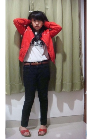 H&M jacket - t-shirt - Topshop pants - Birkenstock shoes - mark and spencer belt
