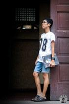 white printed BasicNeedsMNL shirt - black specs De Los Reyes Optical glasses