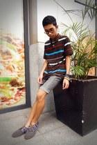 brown printed shoes - dark brown stripes Arizona Jean Company shirt