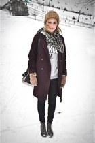 crimson H&M coat - charcoal gray asos boots - black H&M jeans