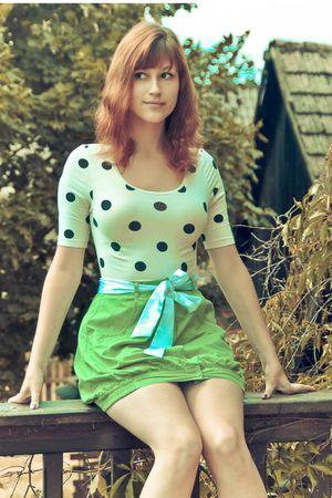 white H&M blouse - blue haberdashery belt - green Coolclub skirt