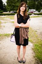 black Michael Kors shoes - black COS dress - periwinkle River Island bag