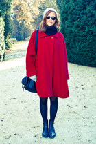 red cape - dark brown Bata shoes - heather gray Cubus hat - black H&M scarf