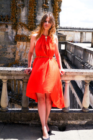 black Atmosphere shoes - carrot orange H&M dress - gold metal Mohito belt