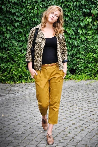 brown leopard print H&M coat - black Vero Moda bag - black H&M top