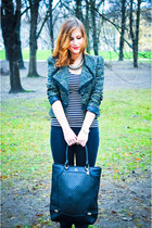 dark green next jacket - black boots - black Guess bag - gold Zara necklace