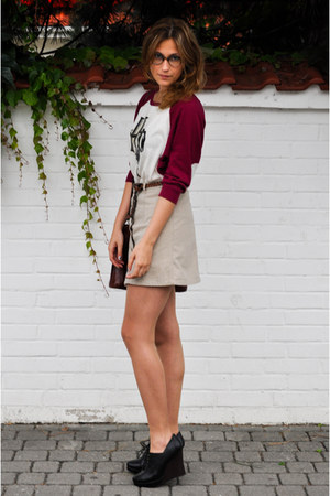brick red diy print H&M sweater - dark brown SH bag - black new look wedges - da