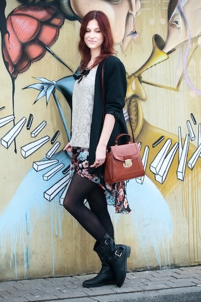 turquoise blue H&M skirt - black Bata boots - black SH jacket