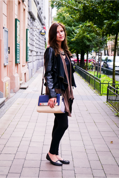 black eco leather Terranova jacket - black H&M leggings