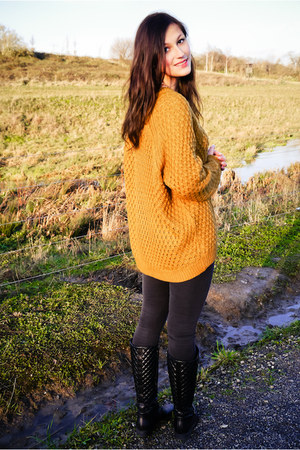mustard H&M sweater - black boots - charcoal gray Tally Weijl coat