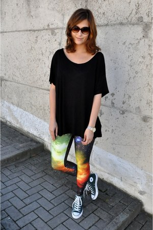 galaxy Pink Queen leggings - black H&M top - dark green Converse sneakers