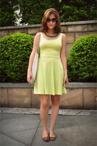 lime green Sinsay dress - cream Tiger Shop bag - bronze Stradivarius flats