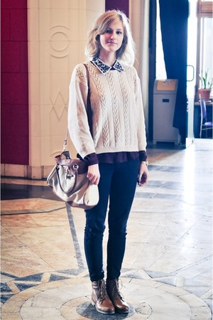 black Primark jeans - brown Topshop boots - ivory sweater