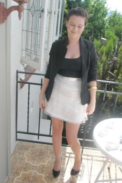 supre shirt - blazer - chopped up skirt - peeptoe shoes