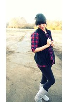 gray suede gift boots - crimson plaid tunic thrifted shirt - black Forever 21 ti