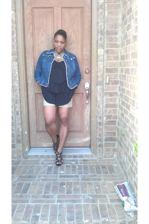 denim isaac mizrahi jacket - black faded glory shirt - khaki merona shorts
