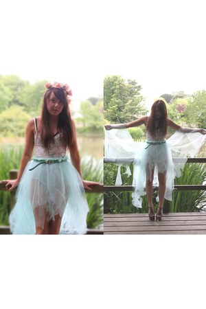 diyed headpiece accessories - bodysuit Topshop top - diyed Skirt skirt - shoes J