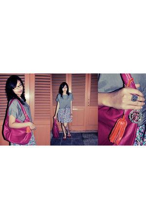 gray a gift blouse - pink Miu Miu bag - pink Topshop shoes