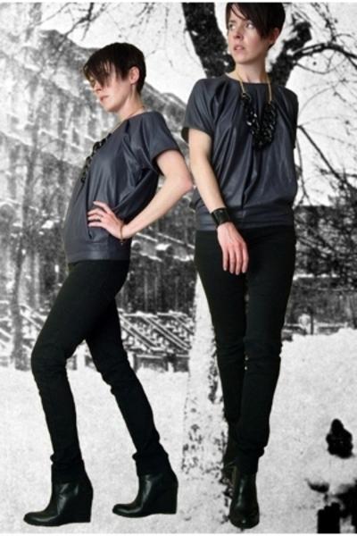 Surface 2 Air blouse - Cheap Monday jeans - uh necklace - minimarket boots