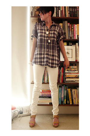 husbands top - Cheap Monday jeans - Rachel Comey shoes - Self Made necklace