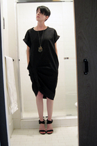 monoclothing dress - mended veil necklace - all black shoes