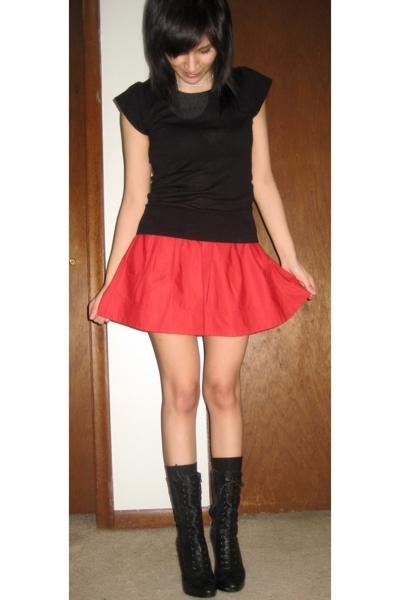 H&M top - Express skirt - gianni bini boots