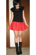H&M top - Express skirt - gianni bini boots