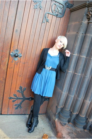 blue vintage from Ebay dress - black Secondhand boots - black thermal tights