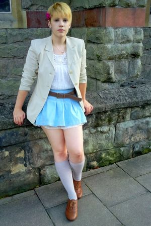 brown Peacocks shoes - white bath market dress - ebay jacket - blue ebay skirt