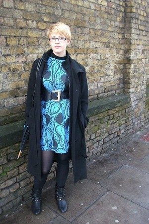 aquamarine JoJo and Malou dress - black Debenhams coat - black new look boots