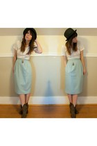 Aldo boots - Forever 21 hat - high waisted bluepea skirt