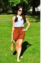 Forever 21 shorts - wicker handbag vintage bag - bow tie vintage tie