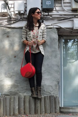 military BP cardigan - ankle boots boots - dooney & burke bag - Forever21 blouse