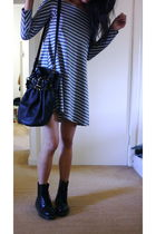 blue greyhound dress - black Dr Martens boots - black Alex Wang accessories