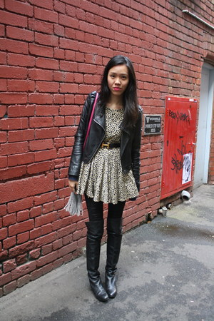 black Witchery boots - friend of mine dress - black Topshop jacket