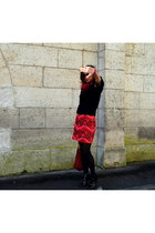 hot pink Manoush skirt - black COS sweater - ruby red Kenzo bag