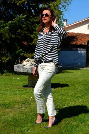 navy Uterque shirt - beige Pimkie jeans - beige Chloe bag - navy Zara heels