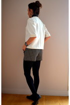 black neoprene Zara shorts - black Mango shirt - black alfred loafers