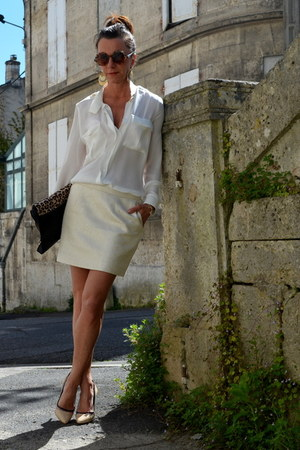 white Zara shirt - black Zara bag - ivory Berenice skirt