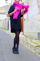 black Zara dress - black H&M sweater - hot pink COS scarf