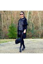 black leather All Saints boots - black wool American Retro coat